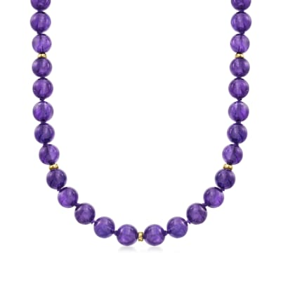 C. 1980 Vintage 10mm Amethyst Bead Necklace with 14kt Yellow Gold