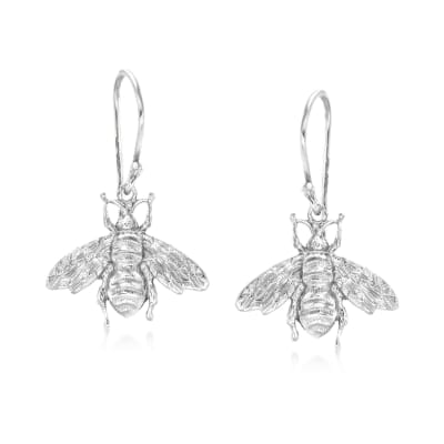 Italian Sterling Silver Bee Drop Earrings