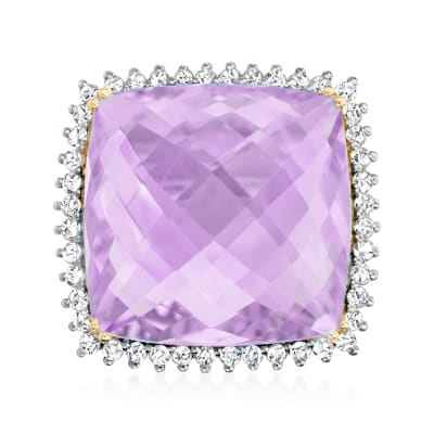 20.00 Carat Amethyst Ring with .79 ct. t.w. Diamonds in 14kt Yellow Gold