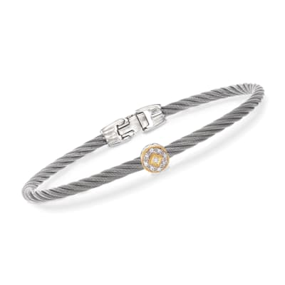 "ALOR ""Shades of Alor"" Gray Stainless Steel Cable Station Bracelet with Diamond Accents and 18kt Yellow and White Gold"