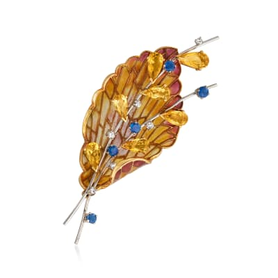 C. 1980 Vintage 6.30 ct. t.w. Citrine and .75 ct. t.w. Sapphire Leaf Pin with .18 ct. t.w. Diamonds and Multicolored Enamel in 18kt Two-Tone Gold