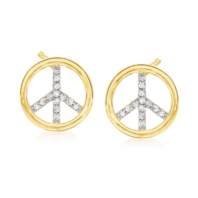 .50 ct. t.w. Diamond Peace Sign Earrings in 18kt Gold Over Sterling