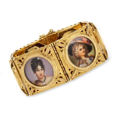 C. 1940 Vintage .10 ct. t.w. Diamond Hand-Painted Portrait Bracelet with Multi-Gemstone Accents in 18kt Yellow Gold