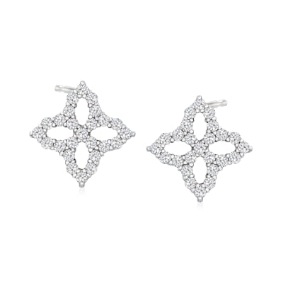 "Roberto Coin ""Princess Flower"" .32 ct. t.w. Diamond Earrings in 18kt White Gold"