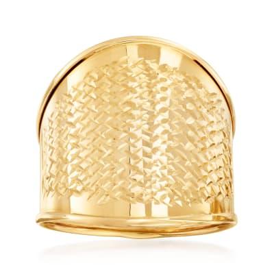 Italian 14kt Yellow Gold Wide Diamond-Cut Ring