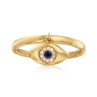 14kt Yellow Gold Evil Eye Charm Ring with Diamond and Sapphire Accents