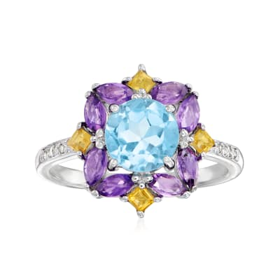 1.50 Carat Blue Topaz, .50 ct. t.w. Amethyst, .10 ct. t.w. Citrine Ring with White Topaz Accents in Sterling Silver