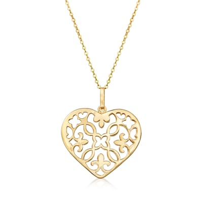 Italian 14kt Yellow Gold Openwork Heart Pendant Necklace
