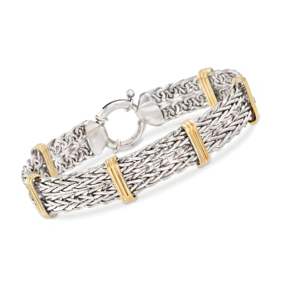 Two-Tone Double Wheat-Link Bracelet in Sterling Silver and 14kt Gold Over Sterling
