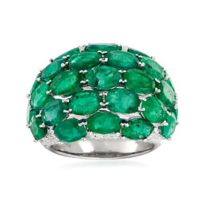 C. 1980 Vintage 11.96 ct. t.w. Emerald and .63 ct. t.w. Diamond Multi-Row Ring in 18kt White Gold