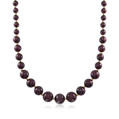 280.00 ct. t.w. Graduated Garnet Bead Necklace with 14kt Yellow Gold