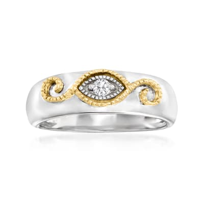 Diamond-Accented Scrollwork Ring in Sterling Silver and 14kt Yellow Gold
