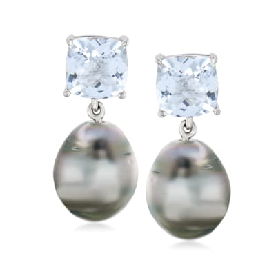 12-12.5mm Cultured Black Tahitian Pearl and 10.00 ct. t.w. Aquamarine Drop Earrings in Sterling Silver