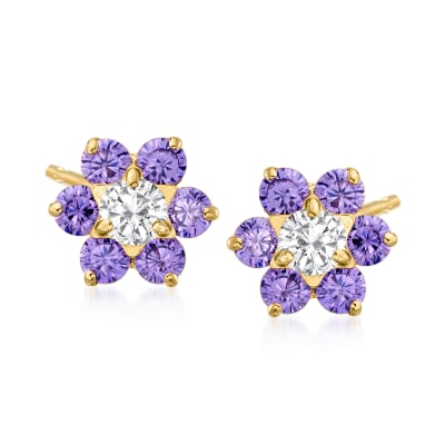 Child's .40 ct. t.w. Simulated Amethyst and .20 ct. t.w. CZ Flower Earrings in 14kt Yellow Gold