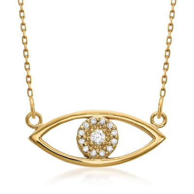 14kt Yellow Gold Evil Eye Necklace in 14kt Yellow Gold