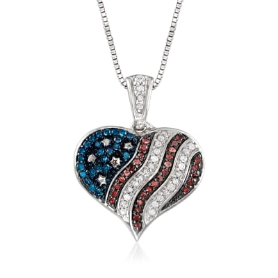 .23 ct. t.w. Multicolored Diamond American Flag Heart Pendant Necklace in Sterling Silver