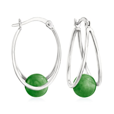 8-8.5mm Jade Double-Hoop Drop Earrings in Sterling Silver