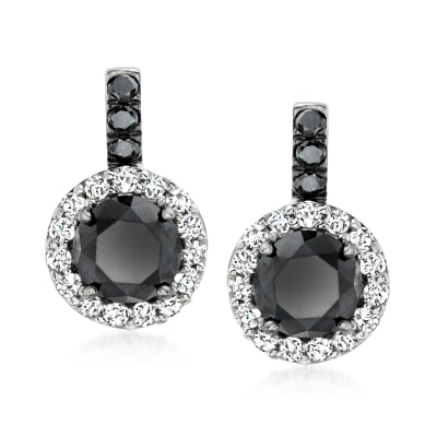 2.00 ct. t.w. Black and White Diamond Drop Earrings in Sterling Silver