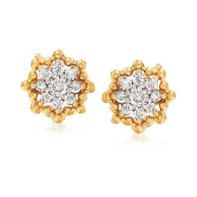 .25 ct. t.w. Diamond Flower Earrings in 14kt Yellow Gold