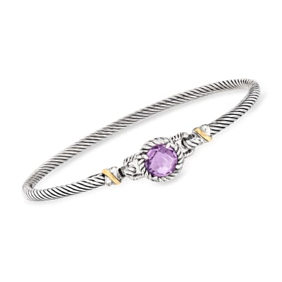 "Phillip Gavriel ""Italian Cable"" 2.00 Carat Amethyst Bracelet in Sterling Silver with 18kt Yellow Gold"
