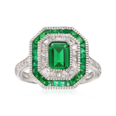 Simulated Emerald and .55 ct. t.w. CZ Ring in Sterling Silver