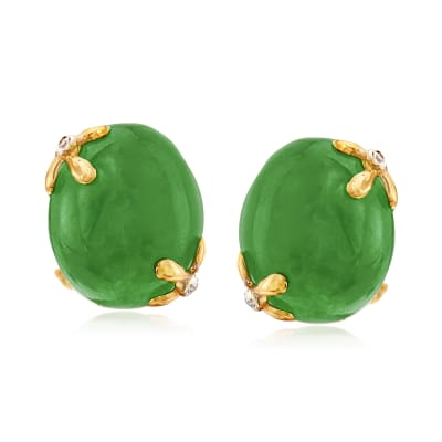 Jade Earrings with White Topaz Accents in 18kt Gold Over Sterling