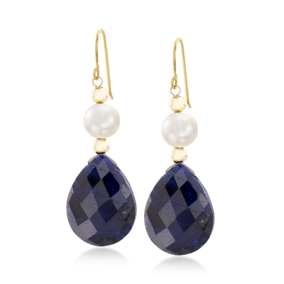 20.00 ct. t.w. Sapphire and Cultured Pearl Earrings in 14kt Yellow Gold