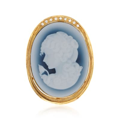 C. 1970 Vintage Agate and .10 ct. t.w. Diamond Cameo Pin in 14kt Yellow Gold