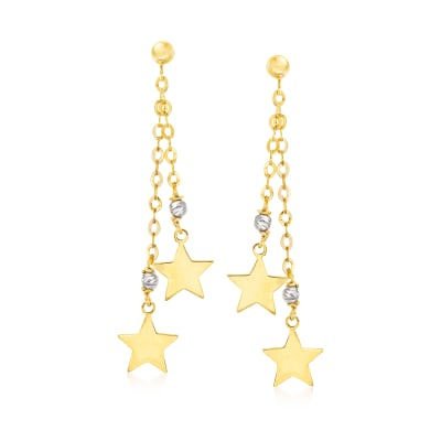 Italian 14kt Two-Tone Gold Star Drop Earrings