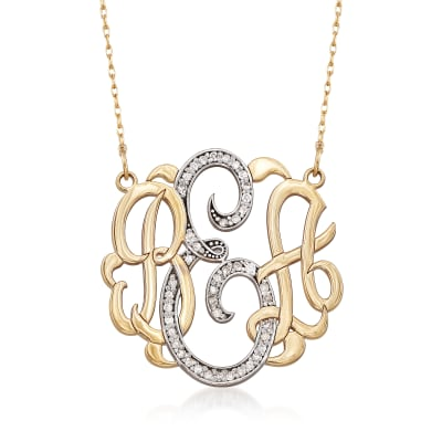 .20 ct. t.w. Diamond Monogram Necklace in 14kt Yellow Gold