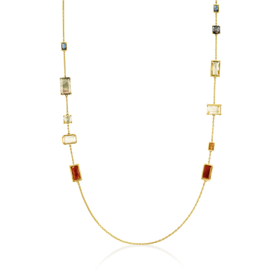 "C. 2000 Vintage Ippolita ""Rock Candy"" Mother-Of-Pearl and 15.10 ct. t.w. Multi-Gemstone Necklace in 18kt Yellow Gold"