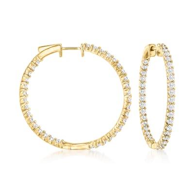 3.00 ct. t.w. Diamond Inside-Outside Hoop Earrings in 18kt Gold Over Sterling
