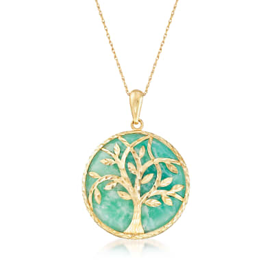 Amazonite Tree of Life Pendant Necklace in 14kt Yellow Gold