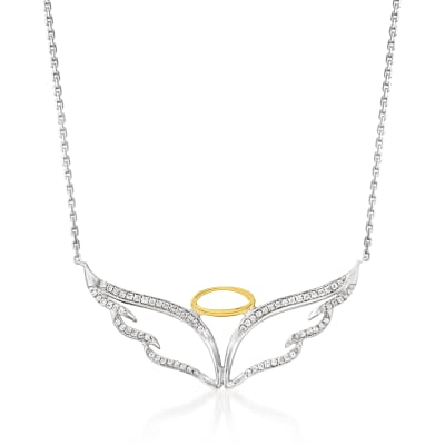 .33 ct. t.w. Diamond Angel Wings and Halo Pendant Necklace in Sterling Silver with 18kt Gold Over Sterling