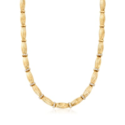 C. 1980 Vintage 1.20 ct. t.w. Diamond Section Necklace in 14kt Yellow Gold