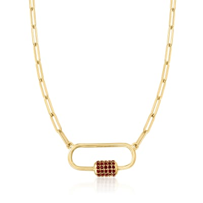 3.70 ct. t.w. Garnet Carabiner-Link Paper Clip Link Necklace in 18kt Gold Over Sterling