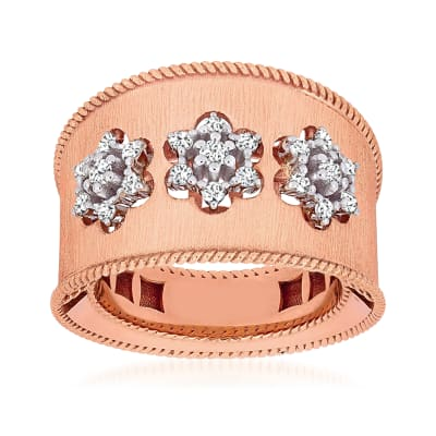 .31 ct. t.w. Diamond Flower Ring in 18kt Two-Tone Gold