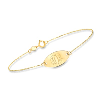 Italian 14kt Yellow Gold Personalized Oval Disc Bracelet