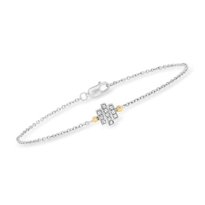 .10 ct. t.w. Diamond Three-Bar Bracelet in Sterling Silver with 14kt Yellow Gold