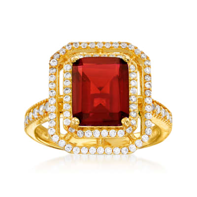 4.25 Carat Simulated Ruby and .40 ct. t.w. CZ Ring in 18kt Gold Over Sterling