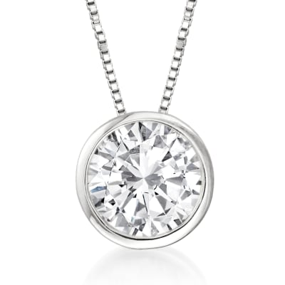 1.20 Carat Bezel-Set Diamond Solitaire Pendant Necklace in 14kt White Gold