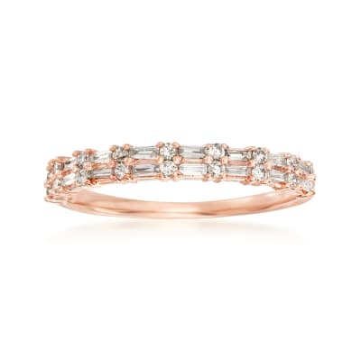 .30 ct. t.w. Round and Rectangular Baguette Diamond Ring in 14kt Rose Gold