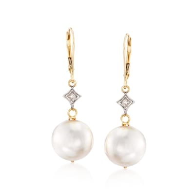 10.5-11mm Cultured Pearl Drop Earrings with Diamond Accents in 14kt Yellow Gold