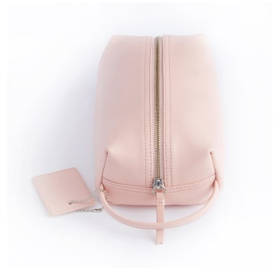 Royce Blush Pink Leather Compact Toiletry Bag