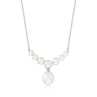 4-9.5mm Cultured Pearl Drop Necklace in Sterling Silver