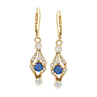 C. 1930 Vintage .90 ct. t.w. Sapphire and .50 ct. t.w. Diamond Drop Earrings in 14kt Yellow Gold