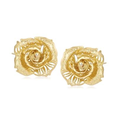 Italian 14kt Yellow Gold Rose Earrings