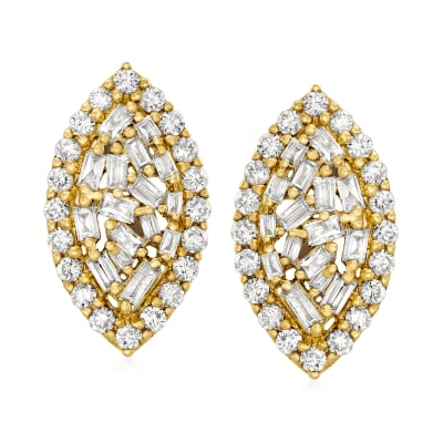 .60 ct. t.w. Diamond Cluster Earrings in 14kt Yellow Gold