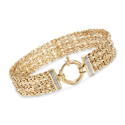 14kt Yellow Gold Byzantine Bracelet with Diamond Accents