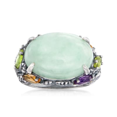 Jade and .90 ct. t.w. Multi-Gemstone Ring in Sterling Silver